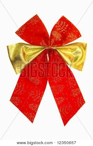 isolated red bow with gold strip against white background