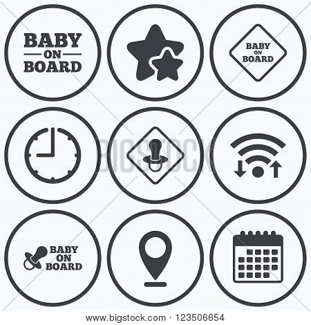 Clock, wifi and stars icons. Baby on board icons. Infant caution signs. Nipple pacifier symbol. Calendar symbol.