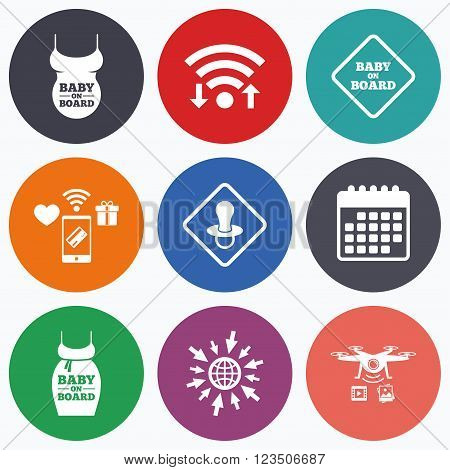 Wifi, mobile payments and drones icons. Baby on board icons. Infant caution signs. Child pacifier nipple. Pregnant woman dress with big belly. Calendar symbol.