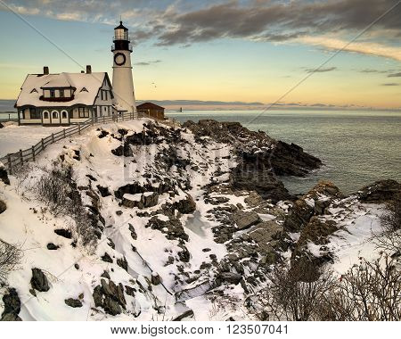 Portland Head Light at Sunset in Winter