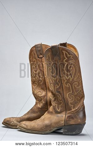 pair of traditional cowboy boots worn for western horsemanship