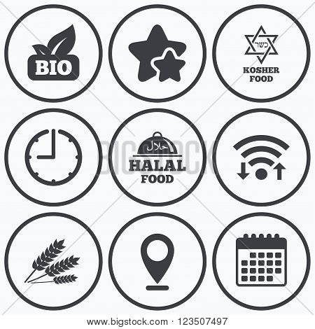Clock, wifi and stars icons. Natural Bio food icons. Halal and Kosher signs. Gluten free and star of David symbols. Calendar symbol.