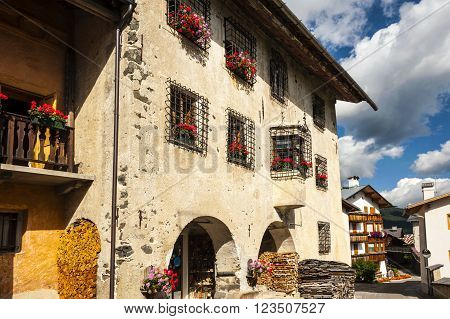 Colle Santa Lucia, Italy - September 6, 2012: Old house in the small town of Colle Santa Lucia along the Great Dolomite Road in Italian Alps