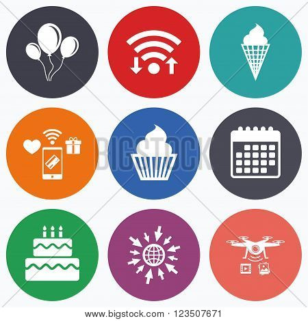 Wifi, mobile payments and drones icons. Birthday party icons. Cake with ice cream signs. Air balloons with rope symbol. Calendar symbol.