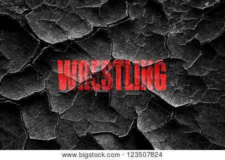 Grunge cracked wrestling sign background with some soft smooth lines