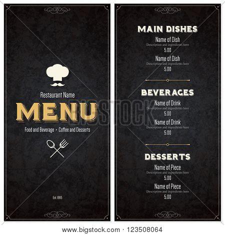 Retro restaurant menu design