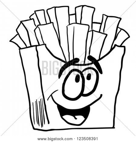 black and white happy french fries cartoon