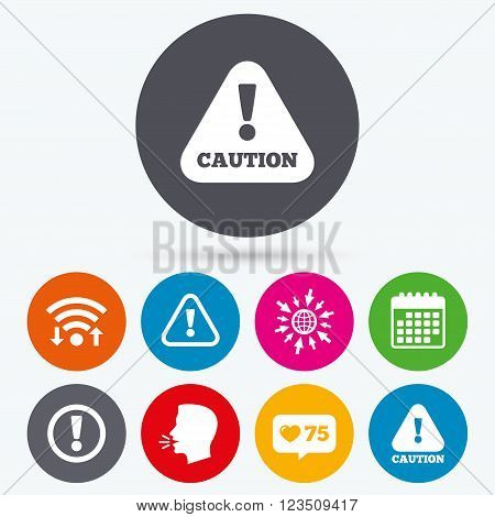 Wifi, like counter and calendar icons. Attention caution icons. Hazard warning symbols. Exclamation sign. Human talk, go to web.