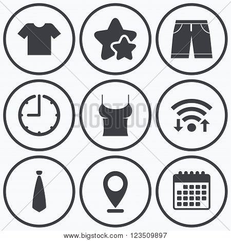 Clock, wifi and stars icons. Clothes icons. T-shirt and bermuda shorts signs. Business tie symbol. Calendar symbol.