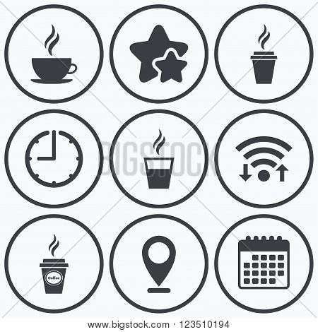 Clock, wifi and stars icons. Coffee cup icon. Hot drinks glasses symbols. Take away or take-out tea beverage signs. Calendar symbol.