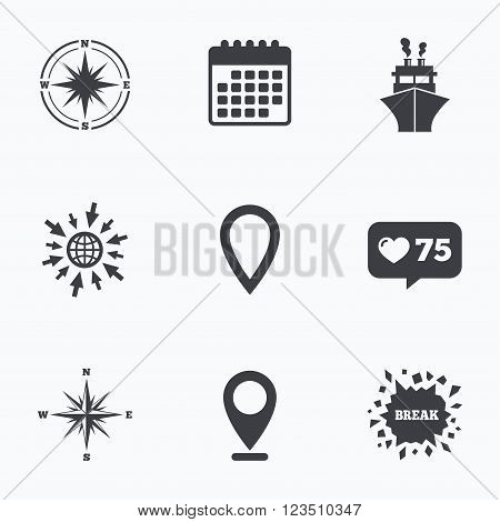 Calendar, like counter and go to web icons. Windrose navigation compass icons. Shipping delivery sign. Location map pointer symbol. Location pointer.