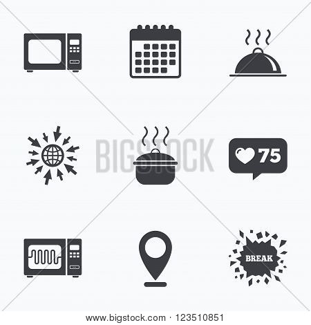 Calendar, like counter and go to web icons. Microwave grill oven icons. Cooking pan signs. Food platter serving symbol. Location pointer.