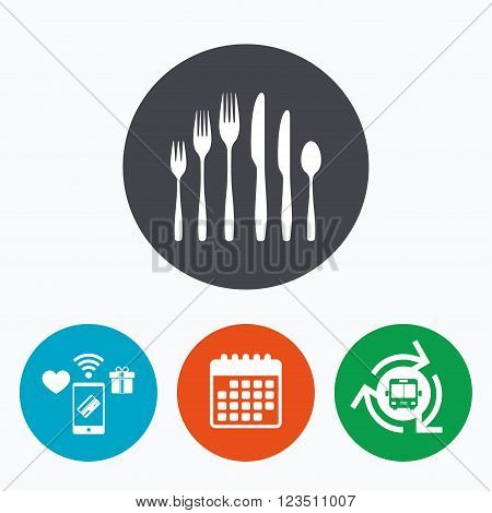 Dessert fork, knife, teaspoon sign icon. Cutlery collection set symbol. Mobile payments, calendar and wifi icons. Bus shuttle.