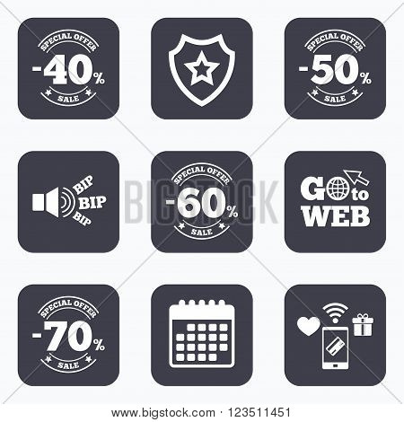 Mobile payments, wifi and calendar icons. Sale discount icons. Special offer stamp price signs. 40, 50, 60 and 70 percent off reduction symbols. Go to web symbol.