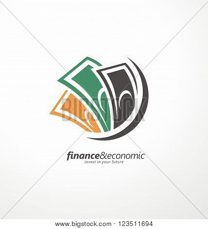 Business and finance creative icon concept. Money symbol template. Creative logo idea for banking or investment business. Money and finance logo design layout.