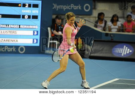 Kim Clijsters Hitting A Forehand At The Medibank International Sydney 2011