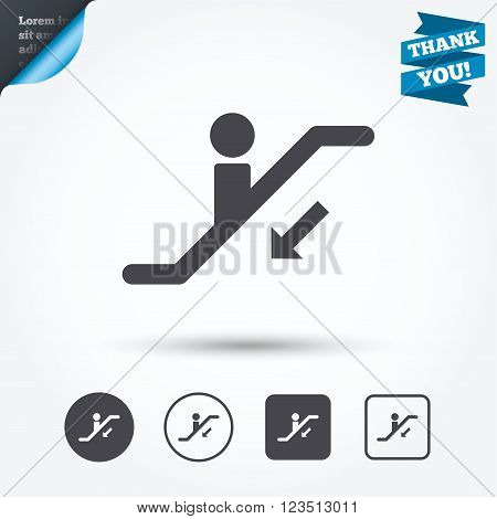 Escalator staircase icon. Elevator moving stairs down symbol. Circle and square buttons. Flat design set. Thank you ribbon.