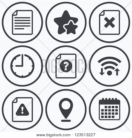 Clock, wifi and stars icons. File attention icons. Document delete symbols. Question mark sign. Calendar symbol.