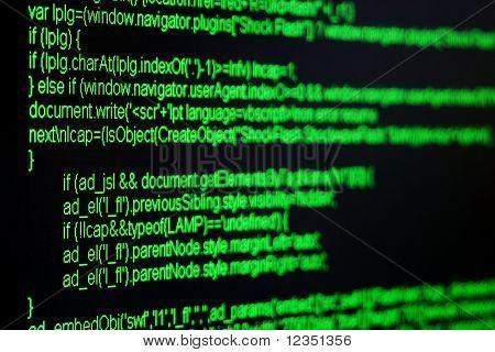 green html code on black screen