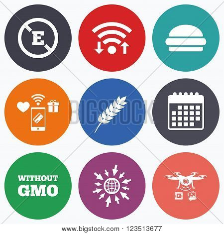 Wifi, mobile payments and drones icons. Food additive icon. Hamburger fast food sign. Gluten free and No GMO symbols. Without E acid stabilizers. Calendar symbol.