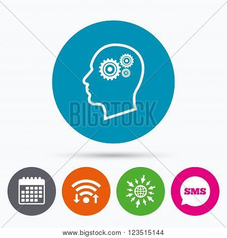 Wifi, Sms and calendar icons. Head with gears sign icon. Male human head symbol. Go to web globe.
