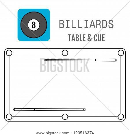 Icon of a billiard ball. Pool table and cues. Vector illustration