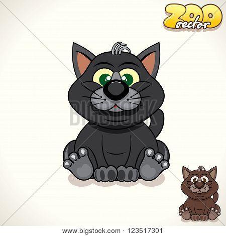 Cute Cartoon Black Cat. Pet Vector Illustration