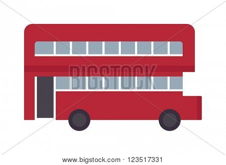 Beautiful vector double decker red bus flat design.