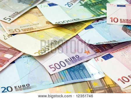 close-up view of euro banknotes