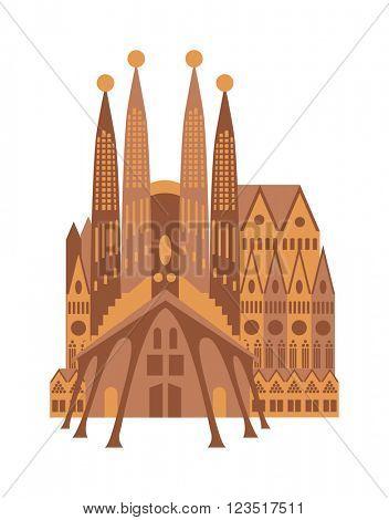 Italy building cathedral Milan catholic church Italy gothic facade vector.