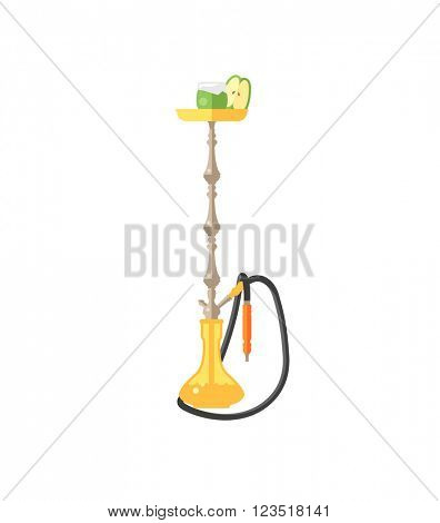 Colorful modern smoke hookah flat vector illustration isolated on white background.