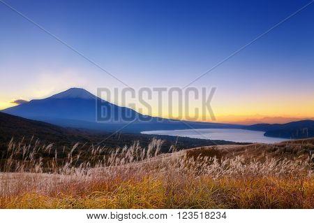 Mount Fuji at sunrise with Kawaguchiko lake at sunrise
