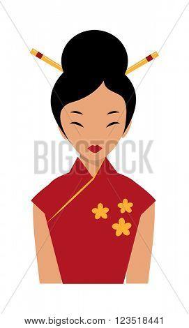 Beautiful chinese girl in traditional cheongsam red dress chopsticks in hair cartoon flat vector.