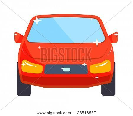 Generic red car luxury design flat vector illustration isolated on white.
