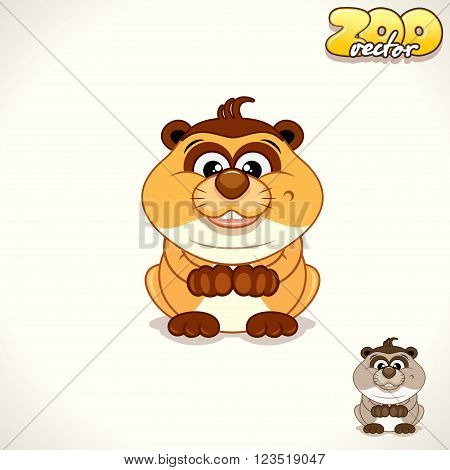Cute Cartoon Playful Meerkat. Vector Illustration Pet