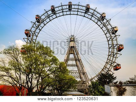 Vienna, Austria - April 27, 2011: View at Wiener Riesenrad in Wurstelprater, or simply Prater, amusement park in Vienna, Austria
