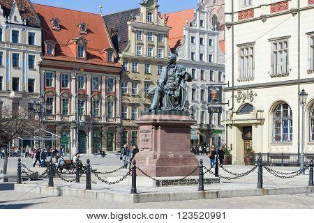 Wroclaw, Poland - Circa March 2012: Aleksander Fredr Monument On Central Market Square In  Wroclaw