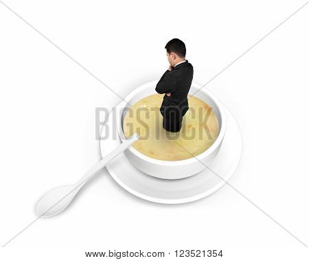 Man standing and thinking in the soup isolated on white background.