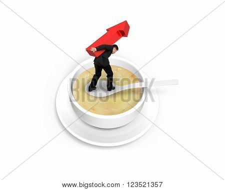 Man carrying red arrow up and balancing on spoon in the soup isolated on white background.