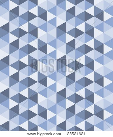 Seamless triangle pattern. Vector background in blue and lilac colors. Geometric abstract texture, serenity tint
