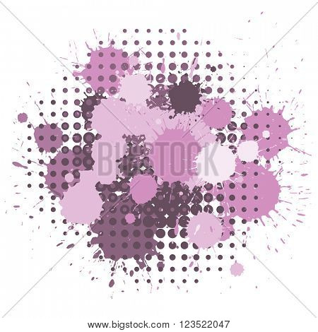 Set of ink blots and halftones dots patterns in pink and purple colors.
