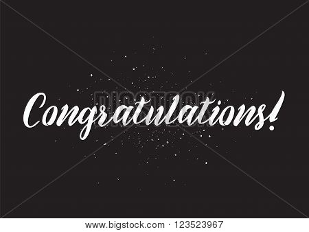 Congratulations Inscription. Greeting Card With Calligraphy. Hand Drawn Design. Black And White.