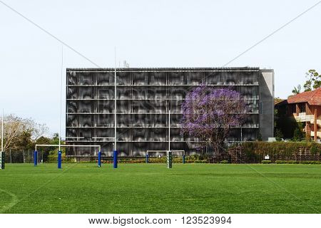 BRISBANE, AUSTRALIA, October 8: A jacaranda tree is flowering in front of the Brisbane Girls Grammar School Creative Learning Centre in Spring Hill, Brisbane, on October 8, 2011. The building's facade has a moire effect.