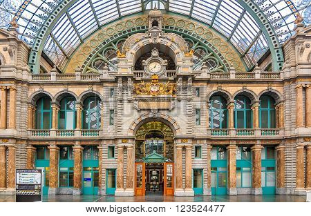 Antwerp Central Train Station In Belgium
