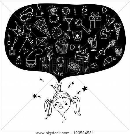 Hand drawn doodle vector set with cupcake, crown, ring, pizza, camera, letter, etc. Modern monochrome princess icons. Greeting card template. Design element for cards. Girlish elements. Girl's objects.
