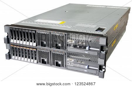 Two stacked rack mount servers isolated on the white background