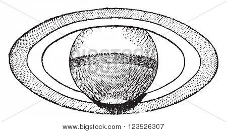 Maximum aperture of Saturn's rings, June 1869, vintage engraved illustration. Magasin Pittoresque 1870.