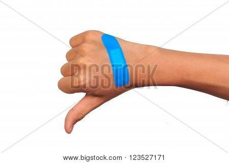 Hand making sign putting adhesive bandage or plaster. isolated on white.