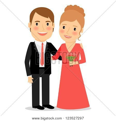 Happy couple. Husband and wife. Man in suit and woman in red dress with bouquet of flowers. Vector illustration