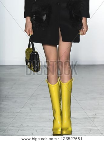 New York City, USA - February 15, 2016: Sophia Ahrens walks the runway during the Jeremy Scott Women's show as a part of Fall 2016 New York Fashion Week
